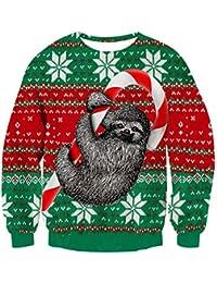 NEWISTAR Unisex Weihnachtspullover Strickpullover 3D Druck Herren Damen  Pullover Weihnachten Jumper Ugly Christmas Sweater S- e9474f7339