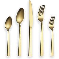 Berglander Couverts Ensemble 30 pièces avec titane doré, argenterie en acier inoxydable, ensemble de couverts en or…