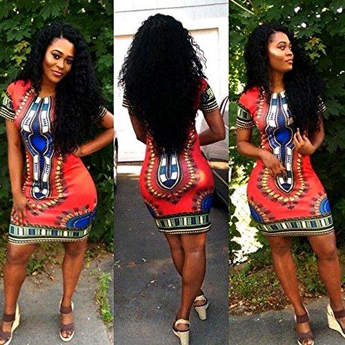 Traditionelle Dashiki (Frauen Art und Weise traditionelle afrikanischer Druck Dashiki Bodycon Sexy kurz?rmeliges Kleid S, M, L, XL)