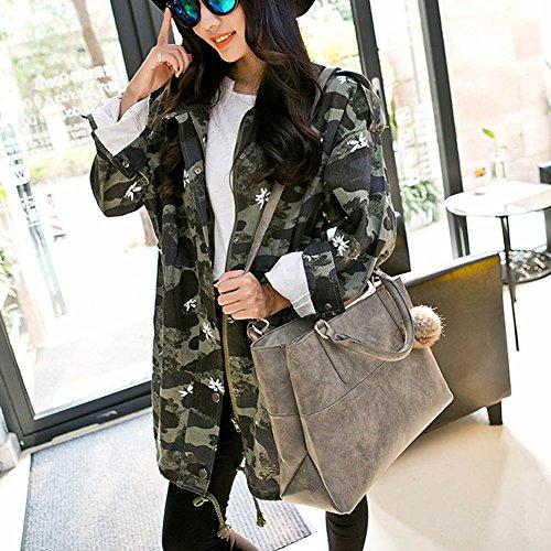 Damen Hrph Handtaschen Handtaschen Frauen Schultertasche Leder Kuriertaschen PU Gray Leder Frauen Nubukleder Marken Neue 1wF78qn1r
