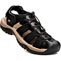 Mens Sandals Sports Outdoor Hiking Sandals Leather Walking Sandal Shoes Summer Casual Athletic Beach Comfortable Toecap…