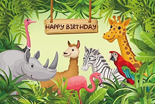 HUAYI 7x5ft Cartoon Dschungel Safari Tiere Hintergrund Foto Hintergrund Fotografie Kulissen Baby Kinder Geburtstag Party Banner Decor Baby dusche Photo Booth Studio Requisiten W-630