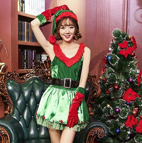 Marcus R Caveggf Frauen-FräUlein Weihnachtsmann-KostüM Liebender Kragen WeihnachtskostüM Rot GrüN Mode Party - Fräulein Rot Kostüm