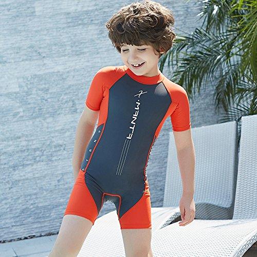 Kinder Schwimmanzug Shorty Bademode Badeanzug - Jungen Badebekleidung Einteiler Protection Solaire UV 54 Schwimmbekleidung für Mädchen mit Reissverschluss