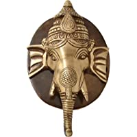 Two Moustaches Ganesh Face Brass Door Knocker with Plate Base