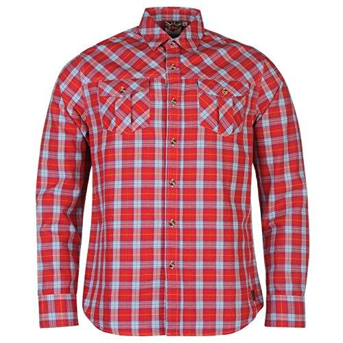 Lee Cooper Uomo Islington Camicia a Quadri Bottoni Manica Lunga Top con Colletto Rosso Large