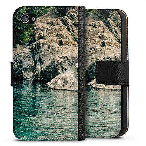 Apple iPhone X Silikon Hülle Case Schutzhülle Felsen Meer Bucht Sideflip Tasche schwarz