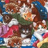 Bunter Robert Kaufman Katze Kleidung Stoff Whiskers and