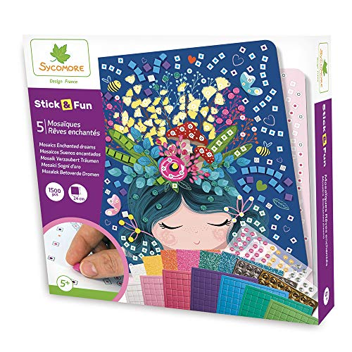 Mosaïques autocollantes pour enfants - 5 tableaux Rêves Enchantés - Loisir créatif - Stick & Fun - Dès 5 ans - Sycomore - CRE7009