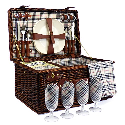 Deluxe Weiden Picknickkorb 'Bromley' für 4 Personen Mit Integriertem Kühlfach - Die Ideale Geschenkidee zum Geburtstag, Hochzeit, Ruhestand