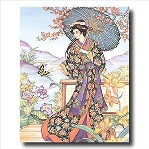 Japanese Girl Femme Papillon Asie-Tableau mural contemporain motif 16 x 20