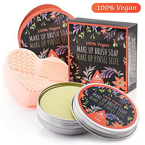 Profi Pinselreiniger Seife Vegan | Kosmetikpinsel Und Make Up Pinsel Seife von Tritart 100g +...