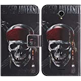 TienJueShi Skull Book-Style Flip Leather Protector Case Silicone Cover Skin Etui Wallet For Medion Life E5504 MD 99732 5.5 inch