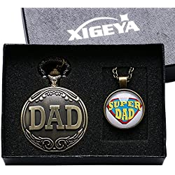 XIGEYA Antique Bronze DAD Special Pocket Watch Pendant Men Pappy Father's Day Gift