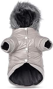 PETCUTE Dog winter coat waterproof dogs winter jacket with hood warm dog coat Gray small