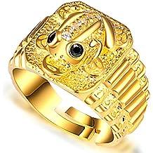 Aooaz Gioielli anelli da uomo anello argento 925 Rospo dorato con anello CZ anelli vintage