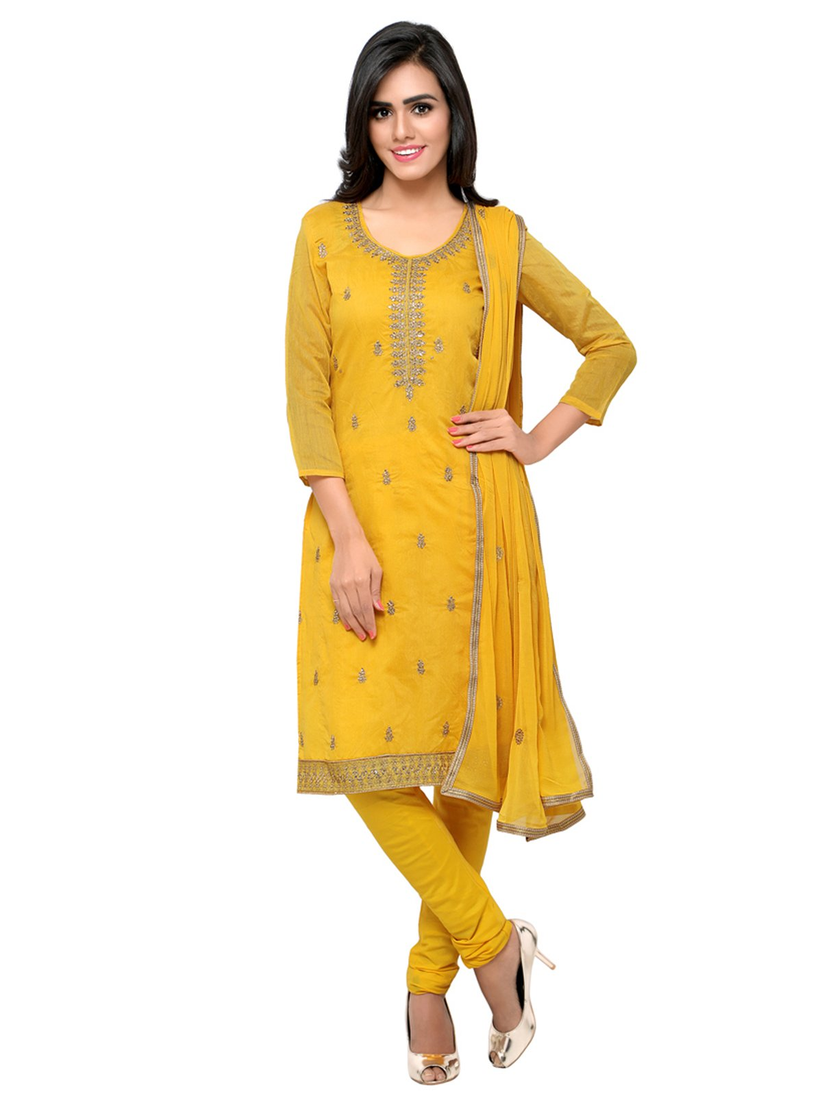 Kanchnar Women's Yellow Chanderi Cotton Dress Material