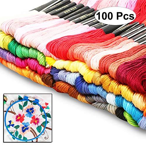 Curtzy 100 Stück von 8m Baumwoll-Garn Faden Zum Nähen Sticken Sortiertes Farben Set - Ideal für Kreuzstich, Stricken, Sicken, Künste und Handwerke - Große Auswahl an Verschiedenen Strängen -