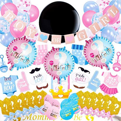 Juland 105 STÜCKE Gender Reveal Party Dekoration Geschlecht Enthüllen Jungen oder Mädchen Geschlecht Offenbaren Party Supplies Latex Ballon Foto Requisiten für Baby Geburtstag