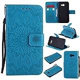 KKEIKO Galaxy S5 Mini Hülle, Galaxy S5 Mini Leder Handyhülle Schutzhülle [ mit Gratis Panzerglas Schutzfolie ], Blumen Muster Stoßsichere Lederhülle Brieftasche Case für Samsung Galaxy S5 Mini - Blau