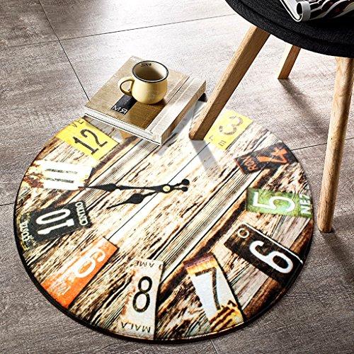Li jing home reative Uhr runde Teppiche Wohnzimmer Uhren Kaffee Tischset, Kinderkriechenteppich Schlafzimmer Nachttischmatte rutschfestes Wasser absorbierend weich (Color : #b, Size : Diameter 120cm)