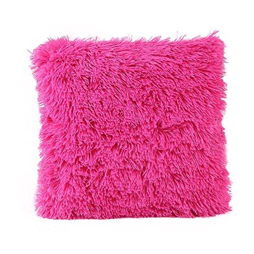 Kissenbezüge Longra Hauptdekoration Kissenbezug Sofakissen Werfen Kissen Abdeckung Plüsch(45cm*45cm/18*18inch) (Hot Pink) (Kissen Dekorative Pink Hot)