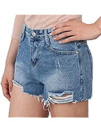 ililily Women Vintage Distressed Light Washed Cotton Jean Pants Denim Shorts
