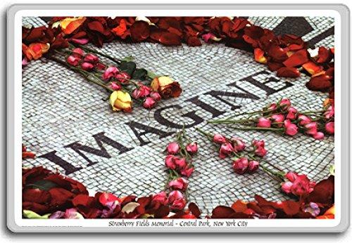 Imagine Strawberry Fields John Lennon Memorial Central Park New York - Motivational Quotes Fridge Magnet - Kühlschrankmagnet (Strawberry Memorial Fields)