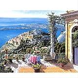 ZGGDYY malen nach Zahlen DIY Seaside Balkontisch Landschaft Leinwand Hochzeit Dekoration Kunst Bild Geschenk 40x50cm(16x20in)