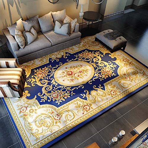 Teppich _ Europäische persische geschnitzte Blumenmatte Traditioneller Teppich - 100% Polypropylen Anti-Milbe Esstisch für Wohnzimmer Sofa Einfach zu säubern Beige/Rot/Blau Mehrere Größen (120×160 cm) -