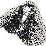 Avenella Eleganter zarter Wollschal mit Karo-Muster Farbwechsel von weiss nach schwarz (ca. 190x70 cm) weicher gewebter Schal Tuch Stola aus 100% Wolle exclusiver Damenschal schwarz weiss Quadrate