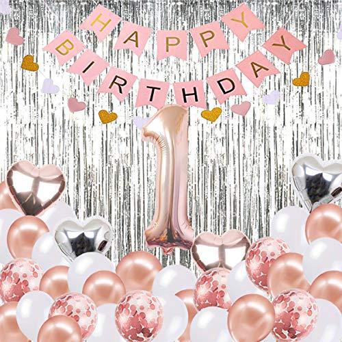 1. Geburtstag Mädchen Dekoration, Baby Mädchen ersten Geburtstag Dekoration, Rose Gold Party Supplies Dekoration 1. Geburtstag, Geburtstag Ballon, Alles Gute zum Geburtstag Banner