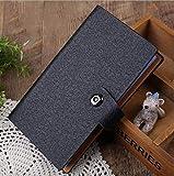 Libretto porta tessere / carte di credito, per 300card, copertina in pelle, con chiusura magnetica Nero