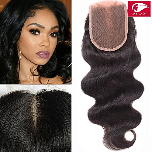 My-Lady® Tissage Bresilien Ondule Top Lace Closure 4*4 - Extensions de cheveux humains vierges (#1B Noir Naturel, 25cm)