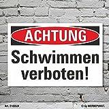 Schild Achtung Baden Schwimmen verboten Hinweisschild 3 mm Alu-Verbund 450 x 300 mm