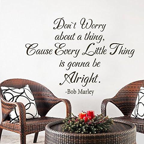 MairGwall con citazione di Bob Marley Non preoccuparti di nulla Home Living decorazioni in vinile, vinile, Nero, 16