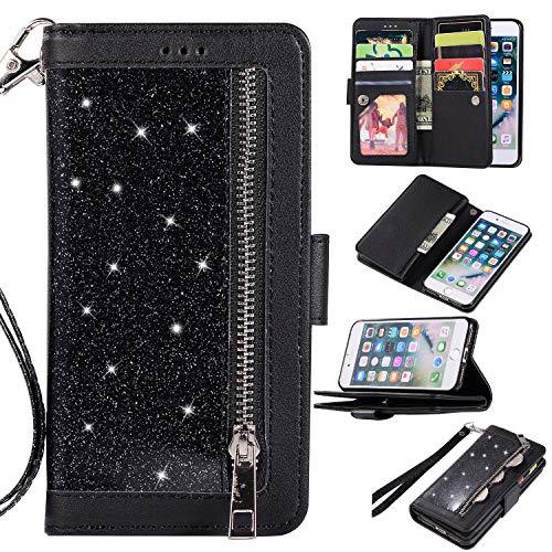 Shinyzone custodia a portafoglio per iphone 8 con 9 slot per schede,cover per iphone 7 custodia in pelle brillantini con cerniera,[cinturino] flip cover con supporto magnetico,nero