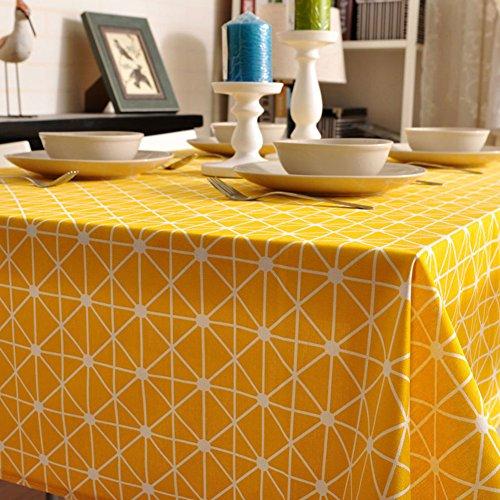 Maoge tovaglia moderna semplice della famiglia tovaglia rurale tessuto cotone lino tabella di tè reticolo panno di tabella oblunga-vari stili.giallo-giallo 140x250cm(55x98inch)