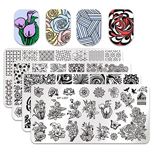 Generico 4pcs nail art stamping Plate set fiore...