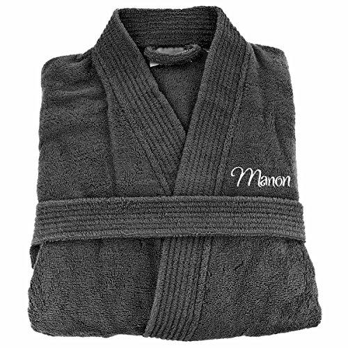 [PERSONNALISABLE] Peignoir de bain personnalisé adulte homme et femme 100% Coton - Anthracite - Taille L - broderie gratuite dans toutes les langues - robe de chambre brodée