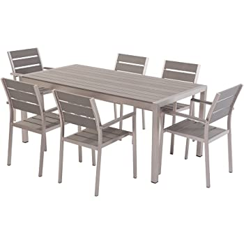 Beliani Aluminium Gartenmobel Set Grau Tisch 180cm 6 Stuhle
