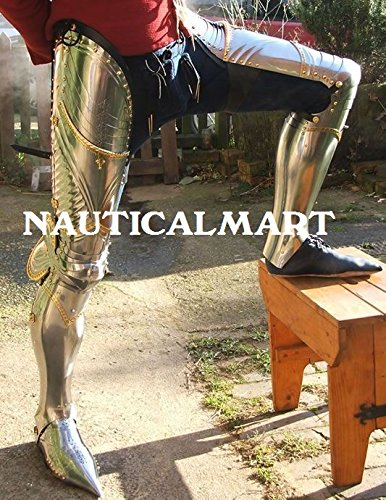 Renaissance Armor Medieval Steel Full Leg Greaves Armour With Brass Fitting - Halloween Costume