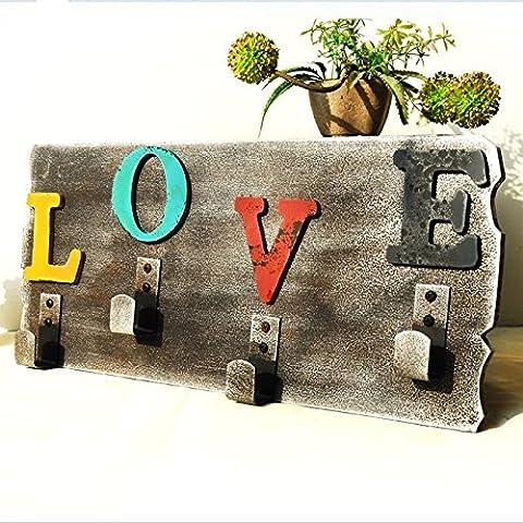Cartas de amor colgante madera pared decorativo cuatro gancho muebles pared ganchos