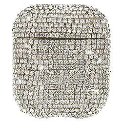 MoreChioce kompatibel mit AirPods 1 Hülle,kompatibel mit AirPods Hülle Diamant,Silber Strass Silikon Schutzhülle Kratzfestes Tasche Bumper Gehäuse