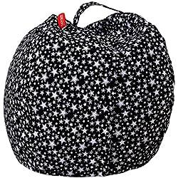 Bolsa de almacenamiento para peluches de Sansee, con patrón a rayas, sillón puf suave rellenos de juguetes de peluche