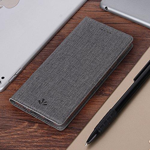 Nokia 8 Handyhülle, Feitenn dünne Premium PU Leder Flip Handy Schutzhülle   TPU-Stoßstange, Magnetverschluss, Kartenschlitz, Kameraschutz- und Standfunktion Brieftasche Etui (Grau) Grau