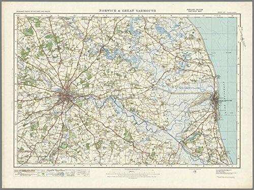 Norwich & Great Yarmouth–ORDNANCE Survey von England und Wales 1920Serie–Größe 73x 100cm