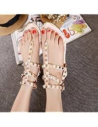 RUGAI-UE Zapatos de mujer,sandalias de playa,Roma clavos,zapatos de