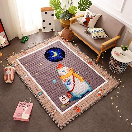KFEKDT Baby Cartoon Krabbeldecke Kinder Spielmatte Baumwollteppich Atmungsaktiv Komfort Teppich A1 145x195cm