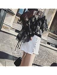 YFF Pure color Pocket rivet pantalon denim shorts irrégulière cheveux broyage,M,White